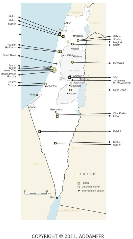 Map Of Israeli Prisons Where Palestinians Are Being Held The - Geneva convention map